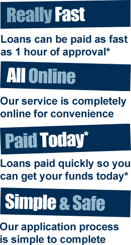 Really Fast, All Online, Paid Today*, Simple & Safe