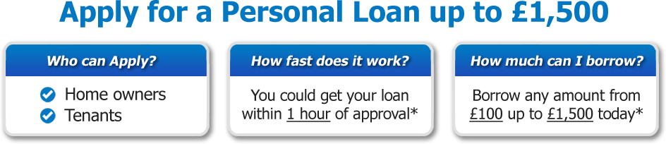 Apply for a Personal Loan up to £1,500